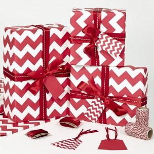 Vánoční balící papír - červenobílý