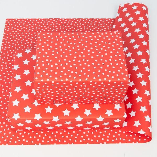 balící papír - oboustranný, červený - bílé hvězdičky